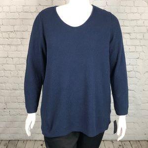 Navy Blue Long Sleeve Sweater Plus Size 2X